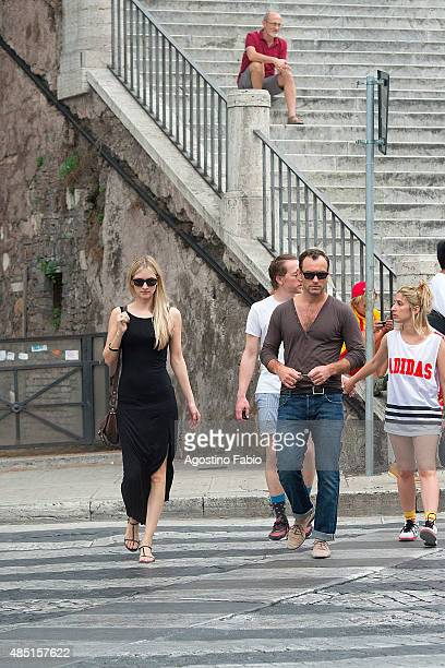 Jude Law is seen with his girlfriend Phillipa Coan visits Musei Capitolini in Rome on August 25 2015 in Rome