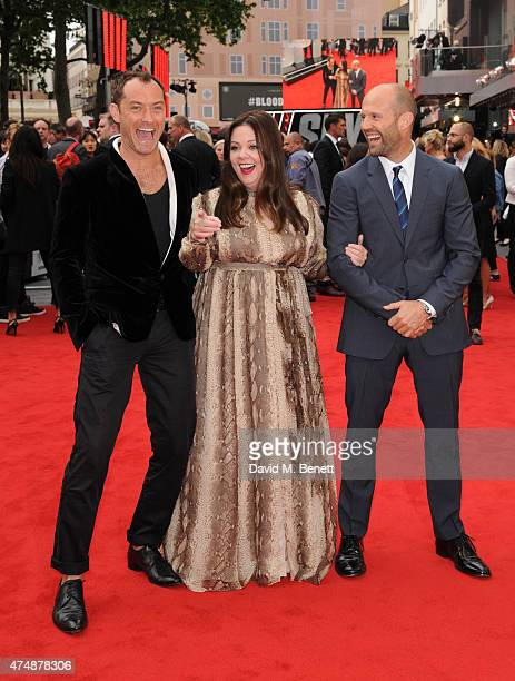 Jude Law Melissa McCarthy and Jason Statham attend the UK Premiere of 'Spy' at Odeon Leicester Square on May 27 2015 in London England