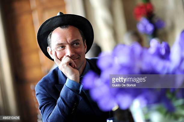 Jude Law pictured at the global premiere of Johnnie Walker Blue Label's The Gentleman's Wager II at Villa Mondragone on October 31 2015 in Rome Italy