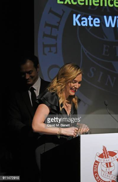 Jude Law presents Kate Winslet with The Dilys Powell Award for Excellence in Film at the London Film Critics' Circle Awards 2018 at The May Fair...