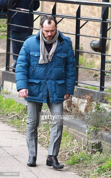 Jude Law sighted on location of 'Dom Hemingway' filmed in London on November 6 2012 in London England