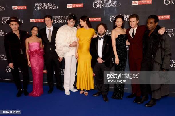 Jude Law Zoe Kravitz Callum Turner Ezra Miller Katherine Waterston Dan Fogler Claudia Kim Eddie Redmayne and William Nadylam attend 'Fantastic Beasts...