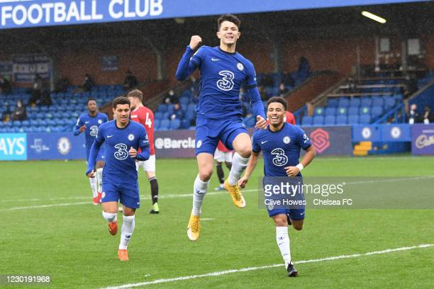 Jude Soonsup-Bell of Chelsea celebrates scoring his first PL2 goal during the Chelsea v Manchester United Premier League 2 match at Kingsmeadow on...