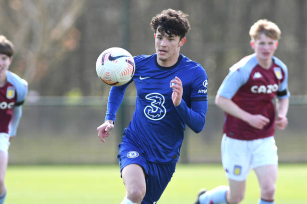 Jude Soonsup-Bell of Chelsea chases the ball during the Aston Villa v Chelsea U18 Premier League at Bodymoor Heath training ground on April 10, 2021...