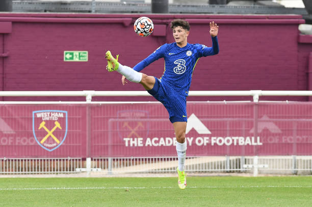 Jude Soonsup-Bell of Chelsea jumps for the ball during the West Ham United v Chelsea Premier League 2 match at Rush Green on August 29, 2021 in...