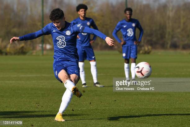 Jude Soonsup-Bell of Chelsea scores Chelseas second goal from a free kick during the Norwich City v Chelsea U18 Premier League match on February 27,...