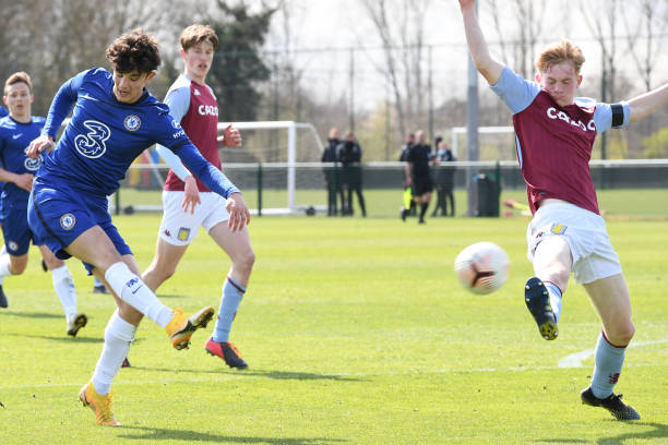 Jude Soonsup-Bell of Chelsea scores in his first match after returning from injury during the Aston Villa v Chelsea U18 Premier League at Bodymoor...