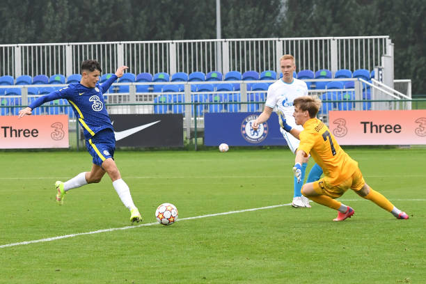 Jude Soonsup-Bell of Chelsea scores the third goal during the Chelsea v Zenit St Petersburg UEFA Youth League match on September 14th, 2021 in...