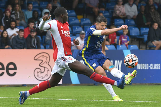 Jude Soonsup-Bell of Chelsea shoots for goal during the Chelsea v Arsenal Premier League 2 match on September 19, 2021 in London, England.