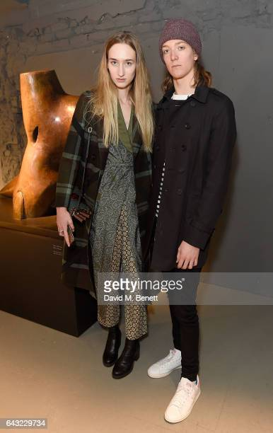 Jude WhileyMorton and guest wearing Burberry attends the Burberry February 2017 Show during London Fashion Week February 2017 at Makers House on...