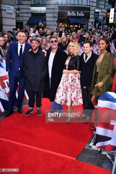 Judegs Hosts attend Britain's Got Talent London auditions at London Palladium on January 28 2018 in London England