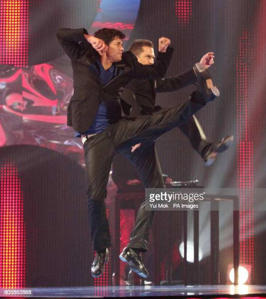 Judge Adam Garcia and dancer Chris Howley perform a tap-dance routine during the semi-final of Sky1's Got To Dance at Maidstone Studios, Kent.