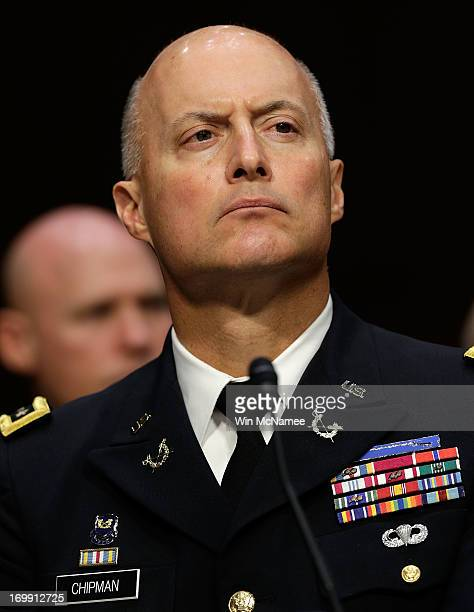 Judge Advocate General of the Army Lt Gen Dana Chipman testifies with US military leaders before the Senate Armed Services Committee on pending...