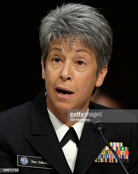 Judge Advocate General of the Navy Vice Adm Nanette DeRenzi testifies with US military leaders before the Senate Armed Services Committee on pending...