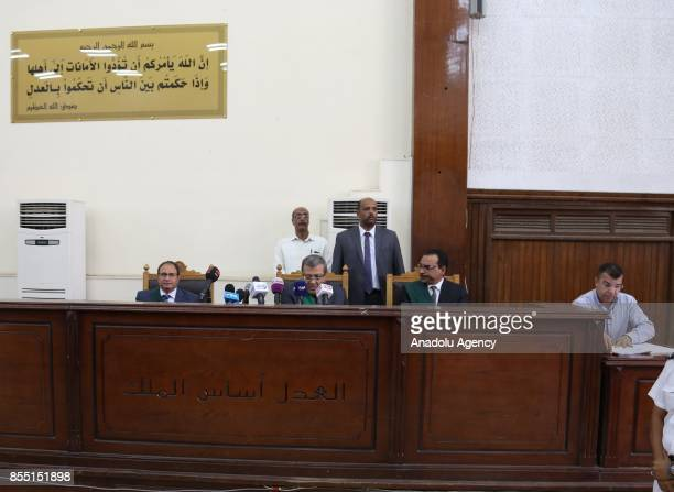 Judge Ahmad Ibrahem Mohammed leads the trial session known as breaking up the Rabaa elAdaweya protests case at Cairo Police Academy in Cairo Egypt on...
