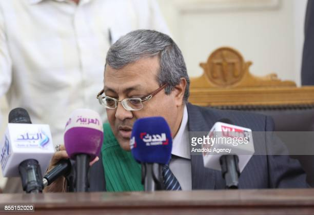 Judge Ahmad Ibrahem Mohammed , leads the trial session, known as breaking up the Rabaa el-Adaweya protests case, at Cairo Police Academy in Cairo,...
