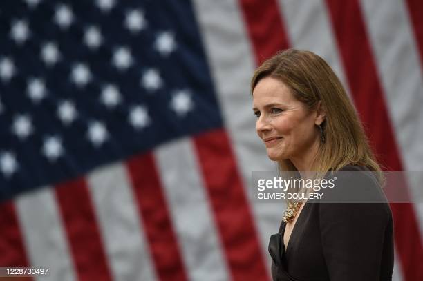 Judge Amy Coney Barrett is nominated to the US Supreme Court by President Donald Trump in the Rose Garden of the White House in Washington, DC on...