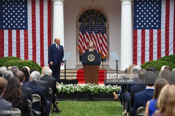 TOPSHOT Judge Amy Coney Barrett speaks after being nominated to the US Supreme Court by President Donald Trump in the Rose Garden of the White House...