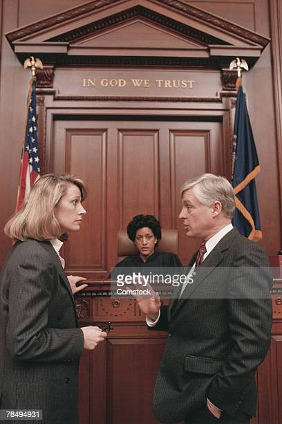 judge and lawyers in courtroom - judge stock pictures, royalty-free photos & images