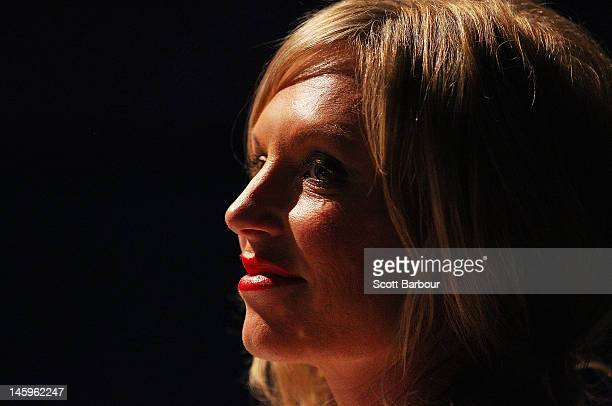 Judge Annalise Braakensiek looks on during the crowning ceremony to announce the 2012 Miss Universe Australia at the Sofitel Melbourne on Collins on...