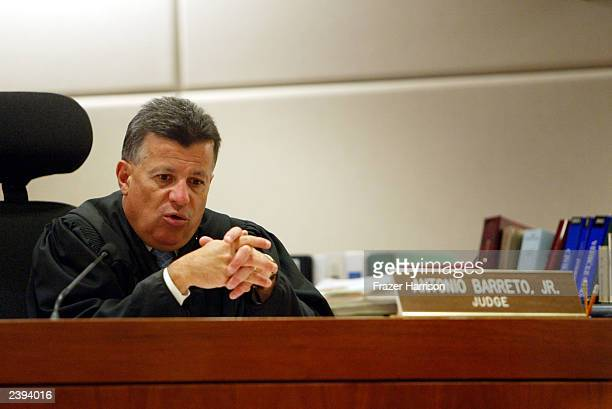 Judge Antonio Barreto speaks during the closing statement at Actor Tom Sizemore's trial at the Airport Branch Courthouse August 12, 2003 in Los...