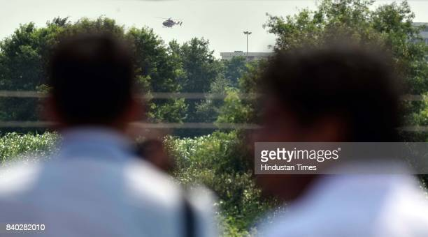 Judge arrives in a helicopter to pronounce the verdict in the rape case against Dera chief Gurmeet Singh Ram Rahim Insan in Rohtak some 80 kilometers...