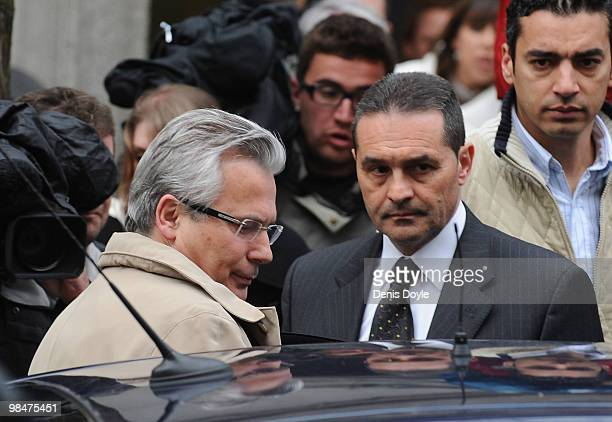 Judge Baltasar Garzon leaves Madrid's Supreme Court on April 15, 2010 in Madrid, Spain. Garzon faces trial for allegedly overstepping his powers...