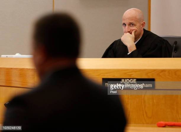 Judge Brandon Birmingham listens to defense attorney Miles Brissette during the third day of the trial of fired Balch Springs police officer Roy...