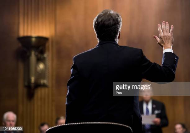 Judge Brett Kavanaugh is sworn in before testifying during the Senate Judiciary Committee hearing on his nomination be an associate justice of the...