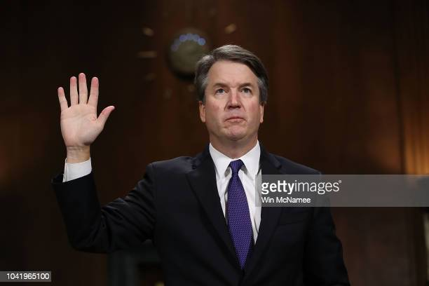 Judge Brett Kavanaugh is sworn in before testifying to the Senate Judiciary Committee during his Supreme Court confirmation hearing in the Dirksen...