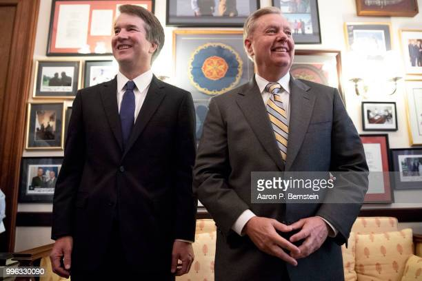 Judge Brett Kavanaugh meets with Senator Lindsey Graham July 11 2018 on Capitol Hill in Washington DC Judge Kavanaugh currently of the DC Circuit...