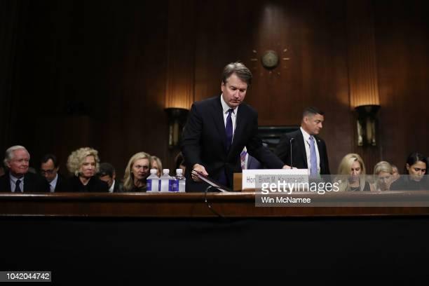 Judge Brett Kavanaugh returns from a break during his Supreme Court confirmation hearing before the Senate Judiciary Committee in the Dirksen Senate...