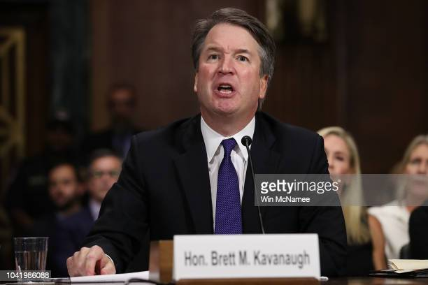 Judge Brett Kavanaugh testifies to the Senate Judiciary Committee during his Supreme Court confirmation hearing in the Dirksen Senate Office Building...