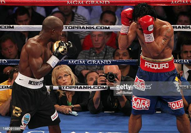 Judge CJ Ross looks on as Timothy Bradley battles Manny Pacquiao during their WBO welterweight title fight at MGM Grand Garden Arena on June 9 2012...
