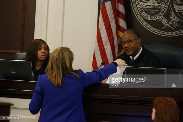 Judge Clifton Newman right speaks with Ninth Circuit Solicitor Scarlett Wilson in the courtroom during the murder trial of former North Charleston...