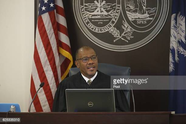 Judge Clifton Newman speaks during the trial of North Charleston police officer Michael Slager at the Charleston County court on November 23, 2016 in...