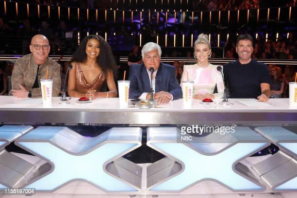 "Judge Cuts"" -- Pictured: Howie Mandel, Gabrielle Union, Jay Leno, Julianne Hough, Simon Cowell --"
