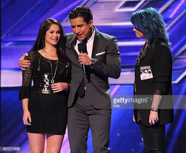 "Judge Demi Lovato and host Mario Lopez announce eliminated contestant Khaya Cohen on FOX's ""The X Factor"" Season 3 Top 10 To 8 Live Elimination Show..."