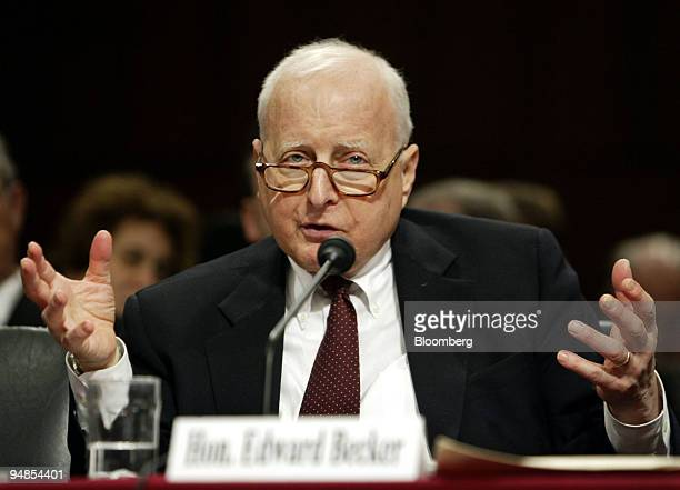 Judge Edward Becker US Court of Appeals for the Third Circuit speaks to the Senate Committee on the Judiciary during a hearing January 11 2005 on The...