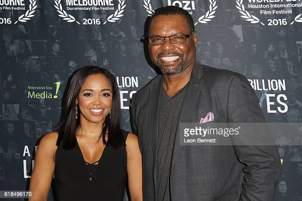 Judge Faith Jenkins and actor Petri HawkinsByrd arrives at the premiere of A Billion Lives at ArcLight Hollywood on October 26 2016 in Hollywood...