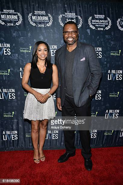 Judge Faith Jenkins and Petri HawkinsByrd attend the LA Premiere Of AwardWinning Documentary A Billion Lives at ArcLight Hollywood on October 26 2016...