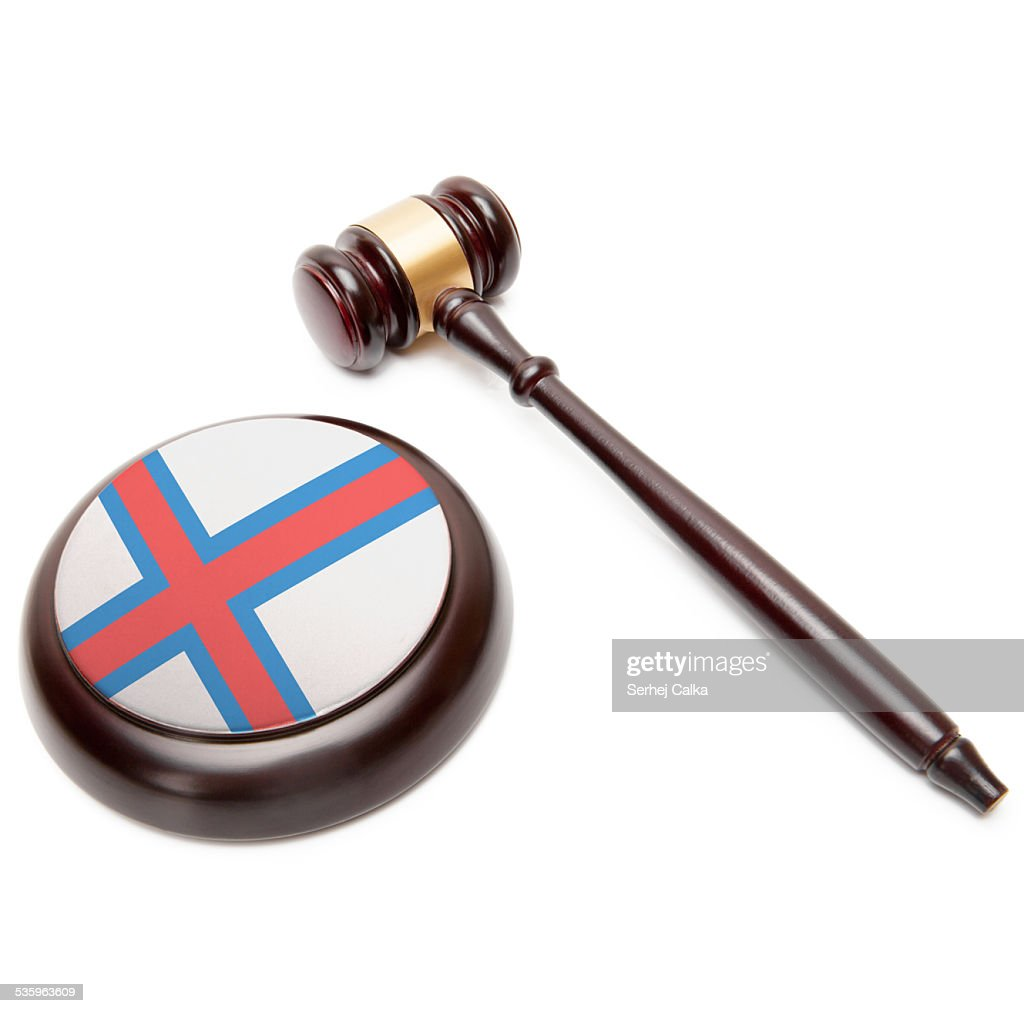 Judge gavel and soundboard with national flag - Faroe Islands : Stock Photo