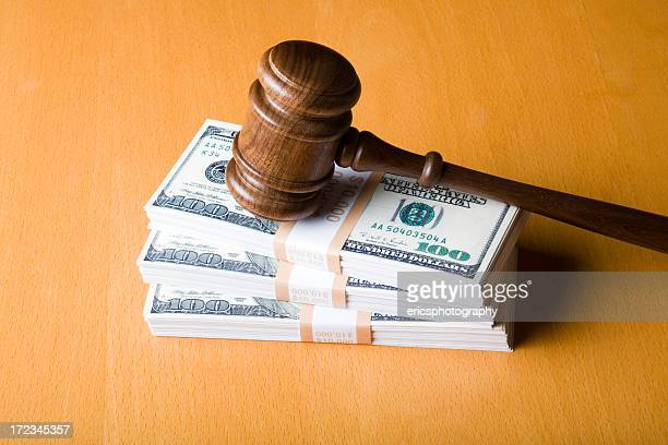 judge gavel on us dollars - money politics stock pictures, royalty-free photos & images