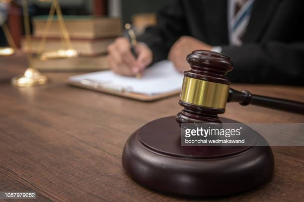 judge gavel with justice lawyers, businesswoman in suit or lawyer, advice and legal services concept. - employment law stock photos and pictures