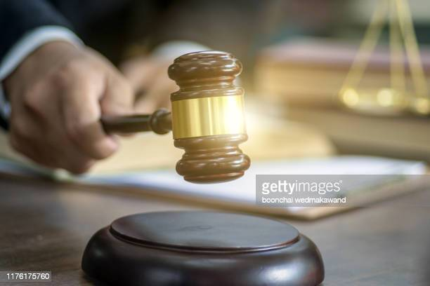judge gavel with justice lawyers, businesswoman in suit or lawyer, advice and legal services concept. - justice concept stock pictures, royalty-free photos & images
