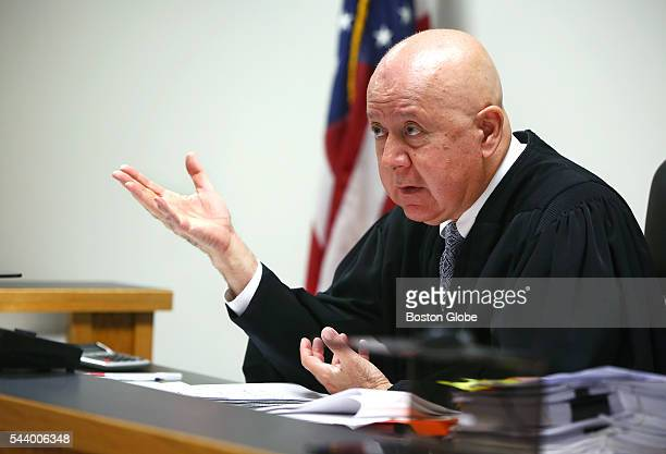 Judge George Phelan gestures Attorneys representing various factions of Sumner M Redstone's family argue over who should gain control of his media...