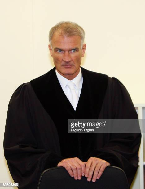 Judge Gilbert Wolf is pictured in court on March 9 2009 in Munich Germany Helg Sgarbi has been charged with blackmailing a string of superrich women...