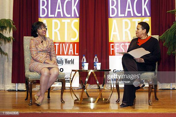 Judge Glenda Hatchett and Alexis Scott during National Black Arts Festival Presents Creatively Speaking with Judge Glenda Hatchett at Georgia Pacific...