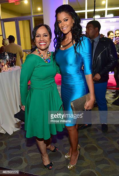 Judge Glenda Hatchett and Claudia Jordan attend Match Made In Heaven screening and reception at the Twelve Hotel on January 29 2015 in Atlanta Georgia
