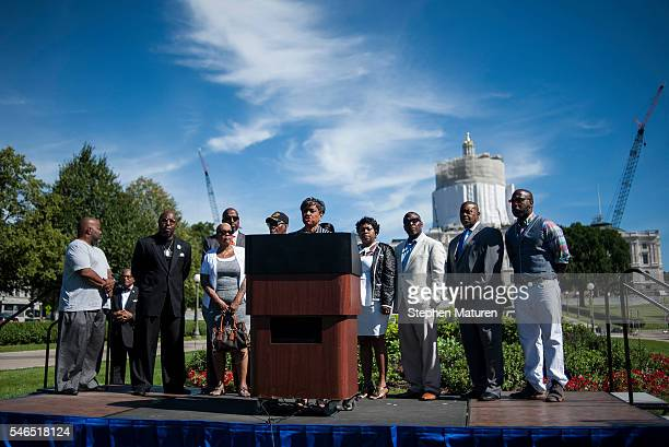 Judge Glenda Hatchett the attorney representing Philando Castile's family speaks at a press conference on July 12 2016 in St Paul Minnesota Protests...